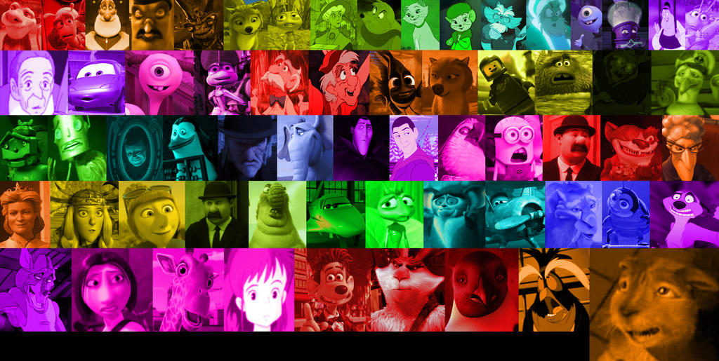 Cartoon Characters Movies : A rainbow of animated movie characters part by