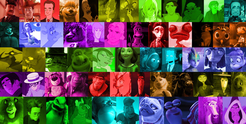 A Rainbow Of Animated Movie Characters Part 6 By