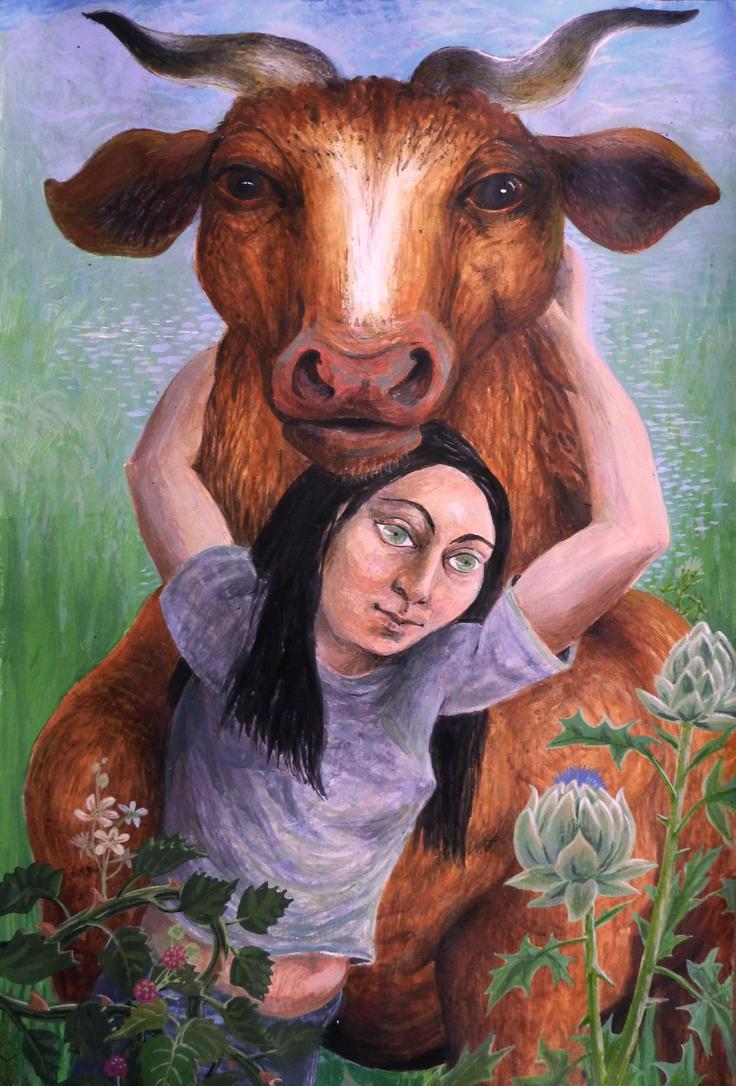 Befriending A Bull 65x45cm by rodulfo