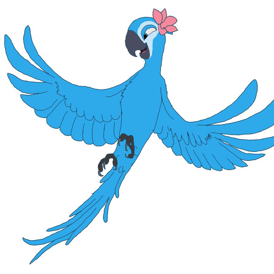 Spix macaw flying