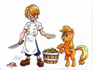 My Little One Piece - Kid Sanji and Applejack