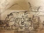 Tyrannosaur breakout by LewisJArt