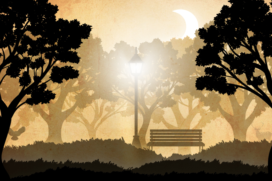 Night. A park. Lamp. Bench. by MpaKyC