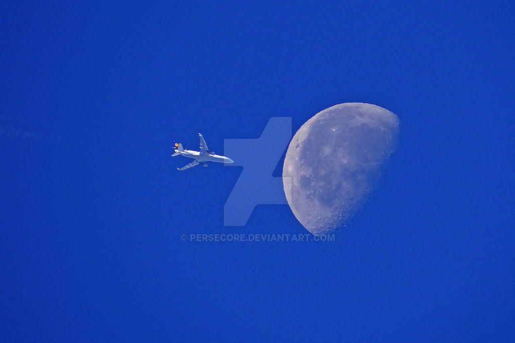 Airplane on the Moon by PerseCore