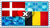APH: Denmark x Belgium Stamp by StampillaDiChocolat