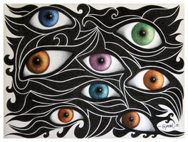Black Waves with Eyes by Jose-Garel-Alvoeiro