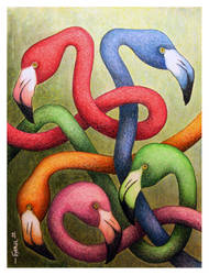 Intertwined Flamingos by Jose-Garel-Alvoeiro