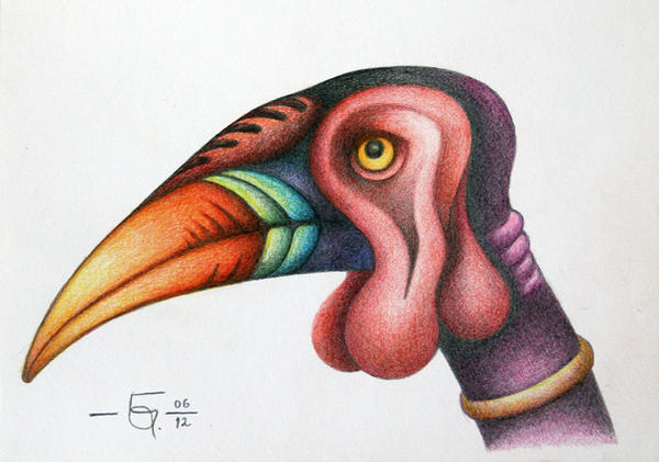 Sketchbook 24 Hornbill 3 by Jose-Garel-Alvoeiro