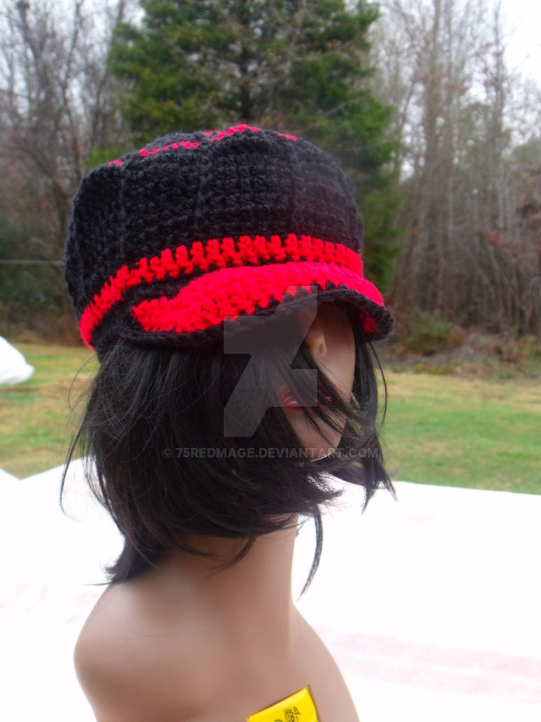 Black and Red Beanie with Brim by 75redmage