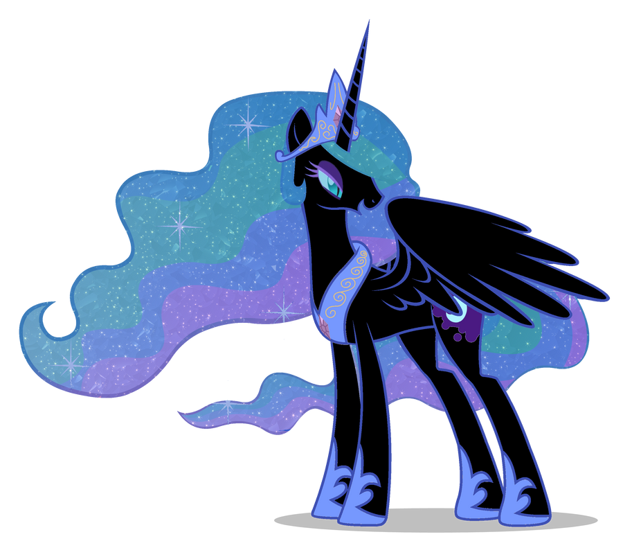 Nightmare Moon and Celestia by speedingturtle