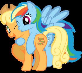 Lyra and BonBon into AppleDash by speedingturtle