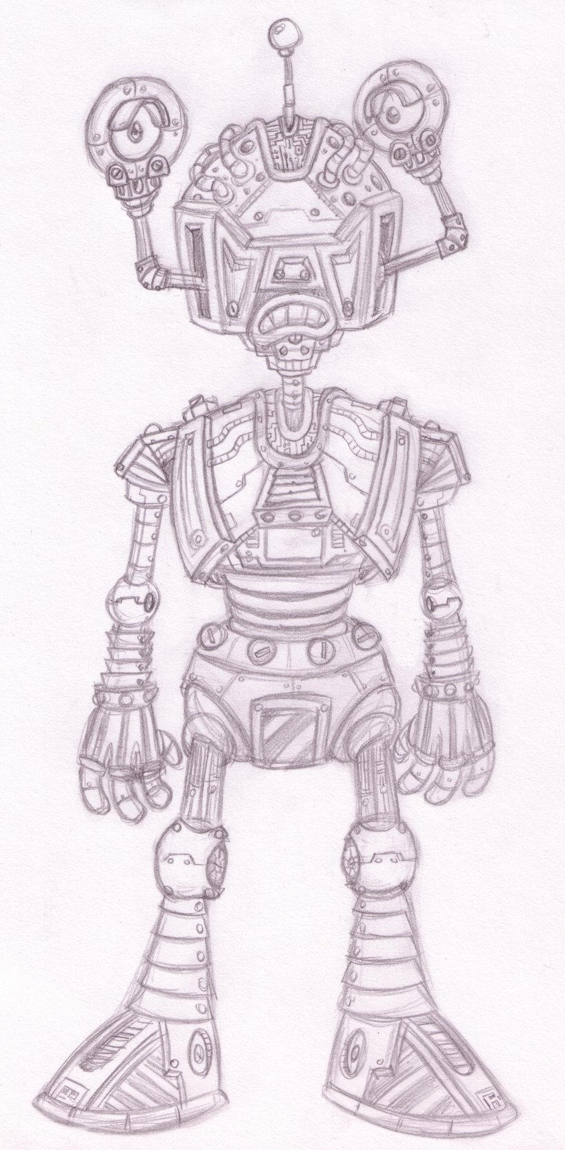 Big Scary Robot Man Sketch by Splapp-me-do