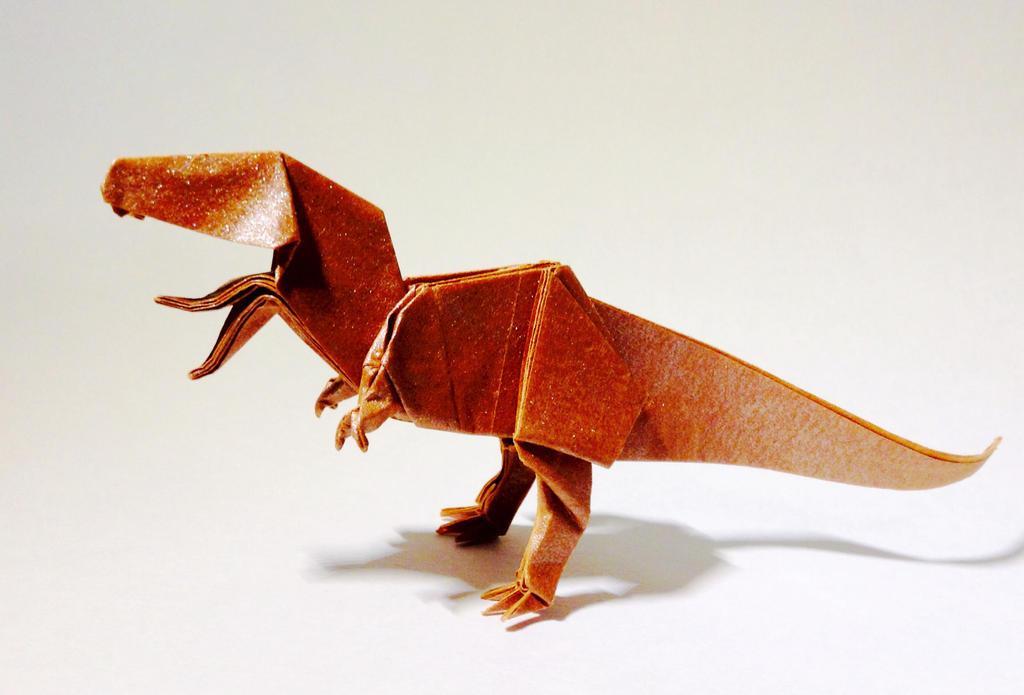 Origami Tyrannosaurus Rex (John Montroll) - Dinosaur #1 - YouTube | 695x1024