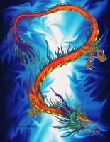 Orange Asian Dragon background by dragonphysic