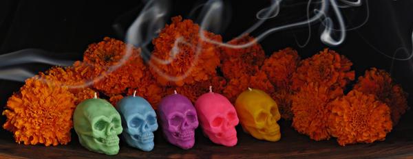 Santa Muerte//Day of the Dead votive candles