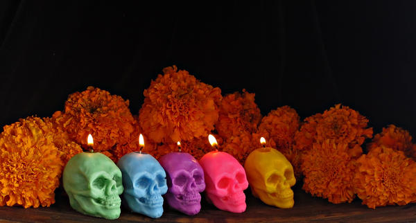 Santa Muerte//Day of the Dead votive candles by Mamitu