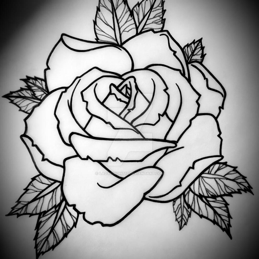 Horizontal Rose Tattoo Design by Ladyknight17 on DeviantArt