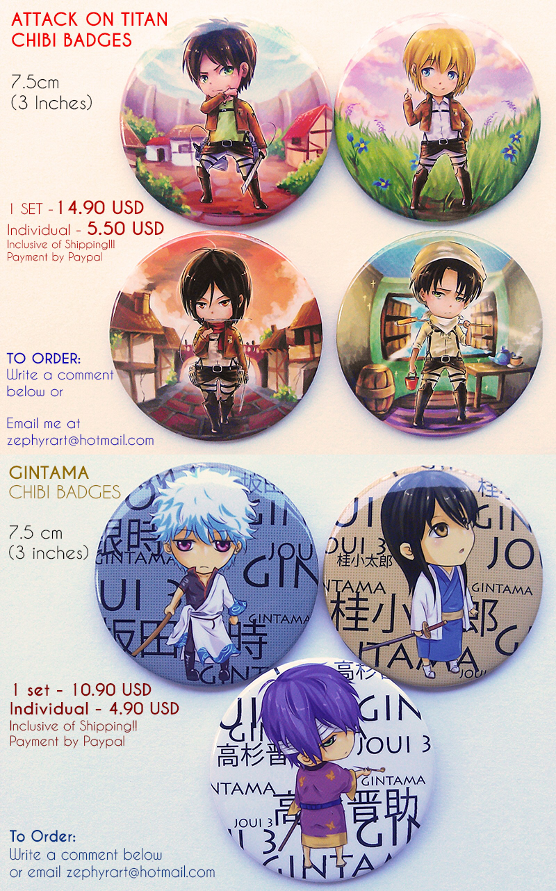 SnK/GINTAMA chibi badge preorder open by Gin-Uzumaki