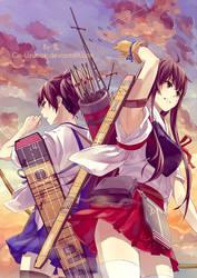 KanColle-Akagi and Kaga by Gin-Uzumaki