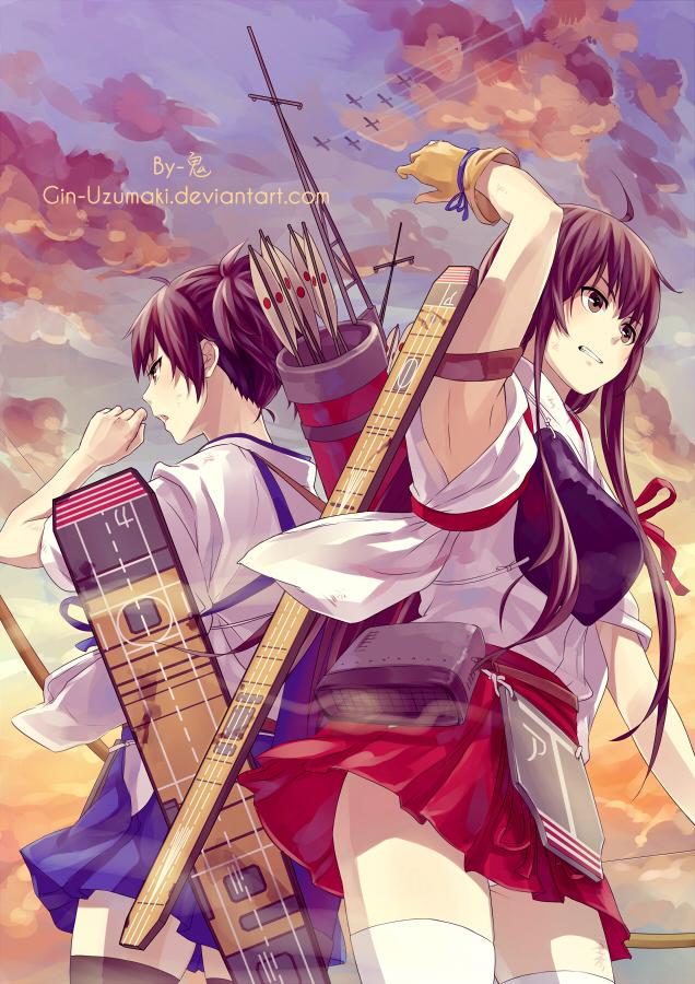 kancolleakagi and kaga by ginuzumaki on deviantart