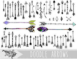 Doodle Arrows PNG and Vector Clipart by InkZen