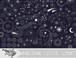 Celestial Doodles Vector and PNG Clipart by InkZen