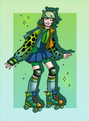 Poison dart frog roller-derby girl