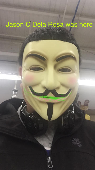My (own) painted typed V for Vendetta selfie by JasonCDelaRosa2019