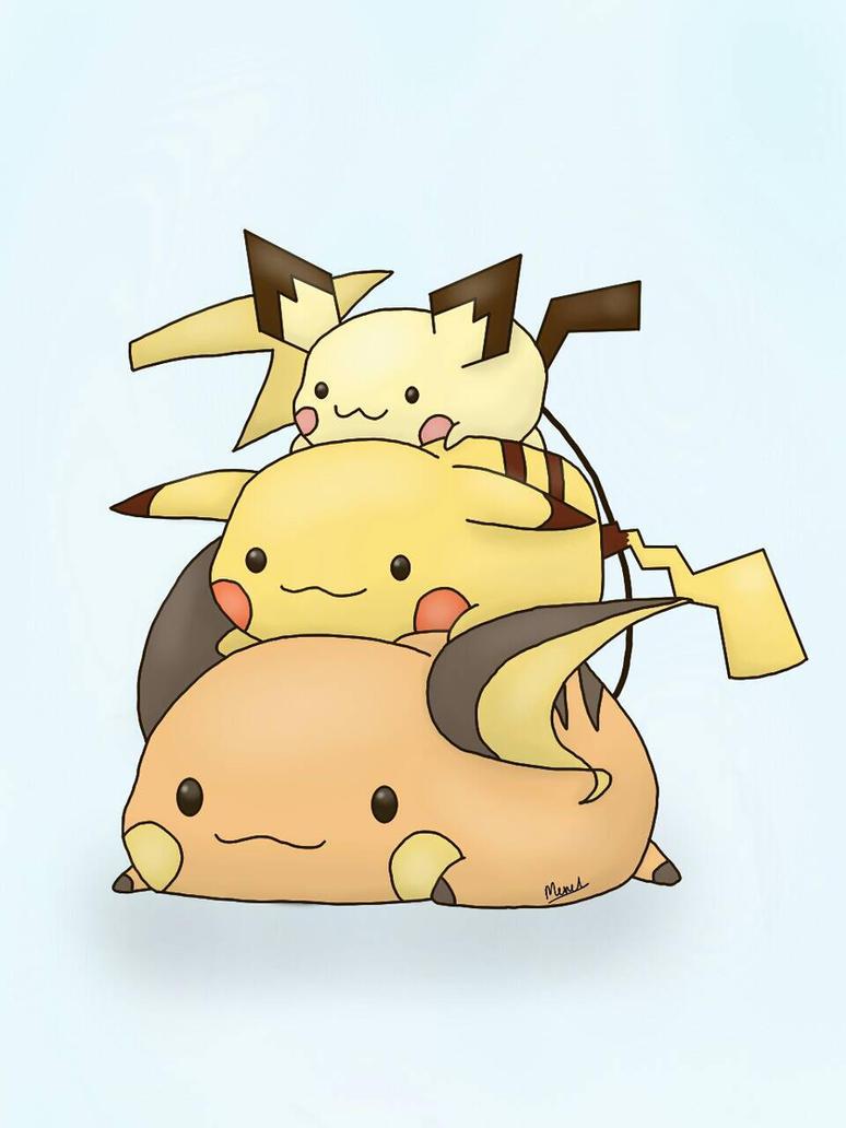 Pichu, Pikachu, Raichu pokemon tower by MerelYael on ...Pichu Pikachu Raichu