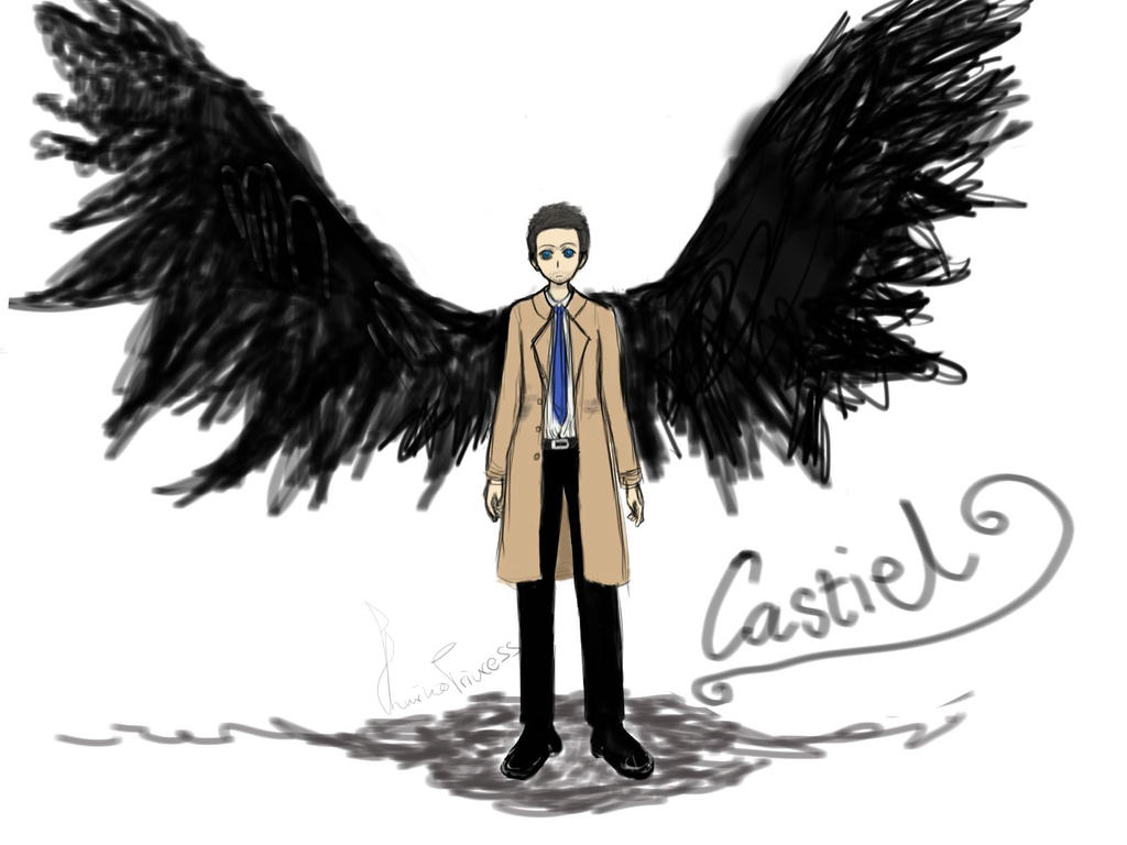 the gallery for gt castiel wings drawing