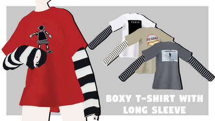 [MMDxDL] Sims 4 Boxy T-shirt With Long Sleeve