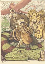akiko and his 3 totems by dagamon