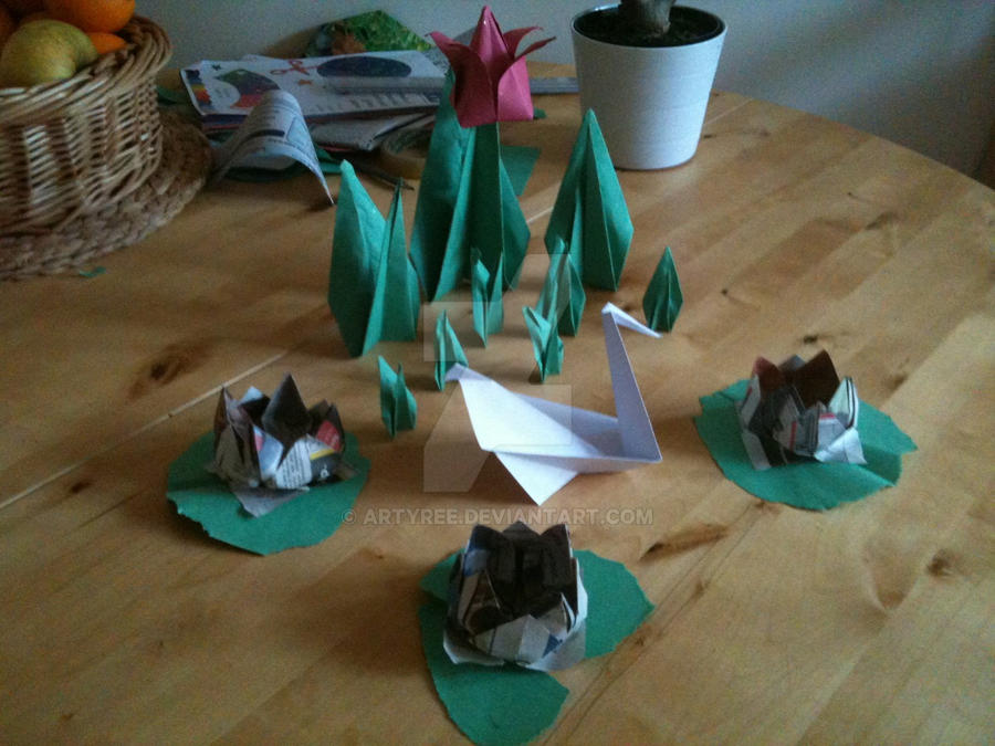 Origami Pond Scene By ArtyRee