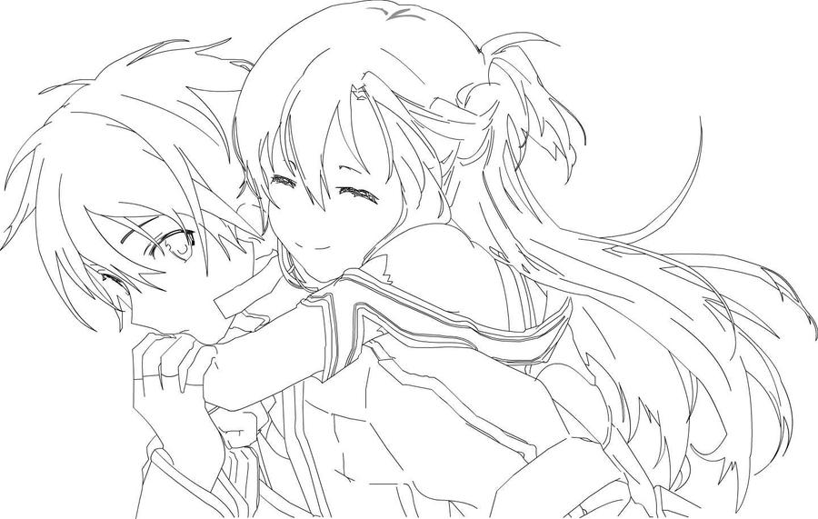Line Art Free : Sword art online line by wolf on deviantart