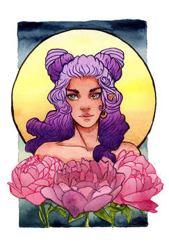 Girl with Purple Ombre Hair and Peonies