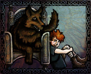 Rickon and Shaggydog, Wolves of Winterfell by Annie-Stuart
