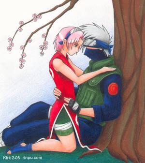 Kakashi and Sakura cuddle