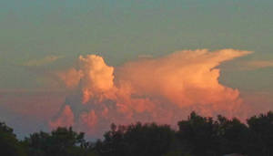 Pink clouds in southern sky