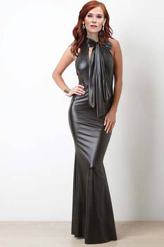 Audrey Fleurot leather gown