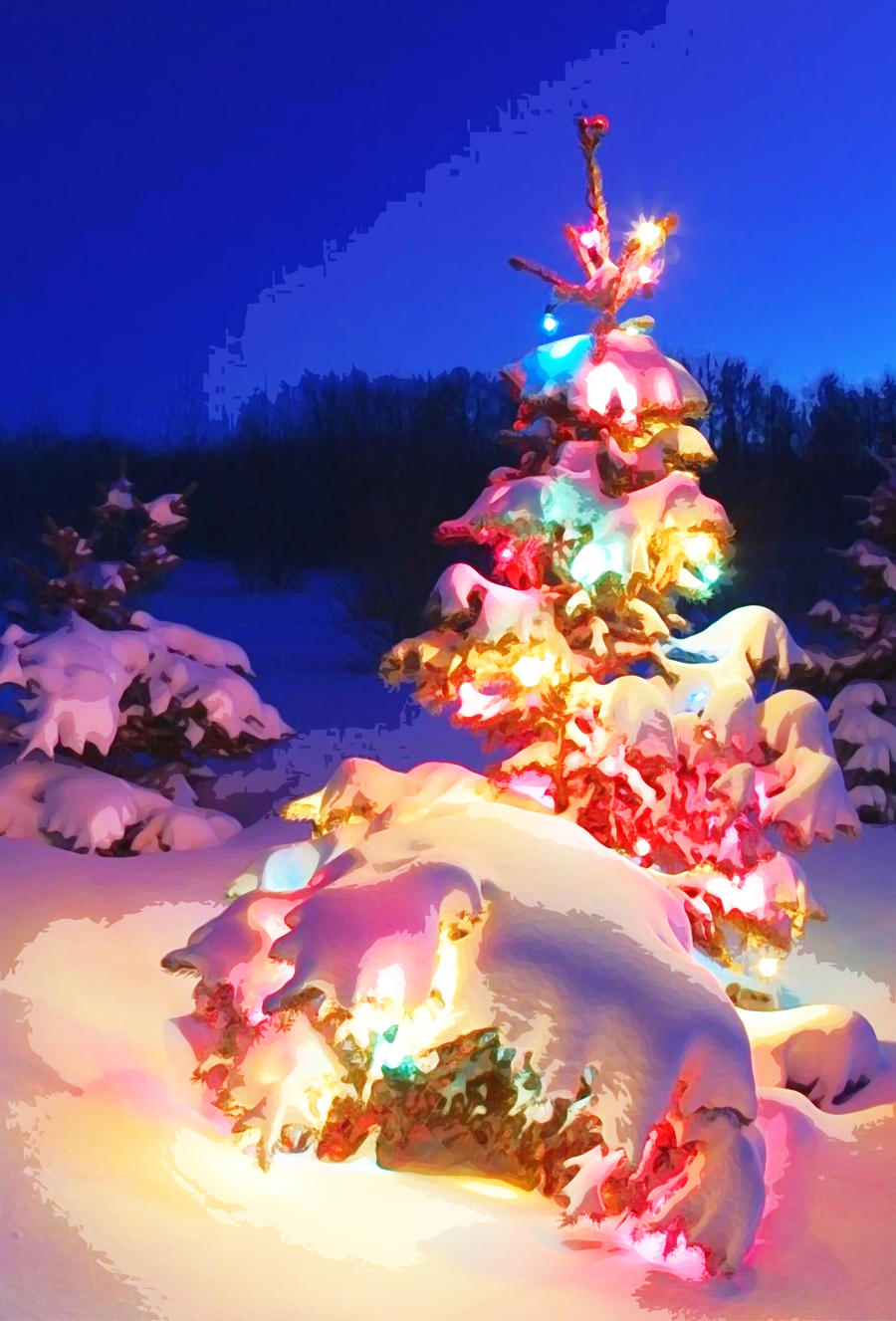 ... Snow Covered Christmas Tree In Snowstorm By Motionage