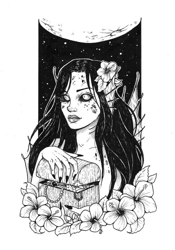 INKTOBER DAY 9 - Precious + Hibiscus Witch by Idunaya