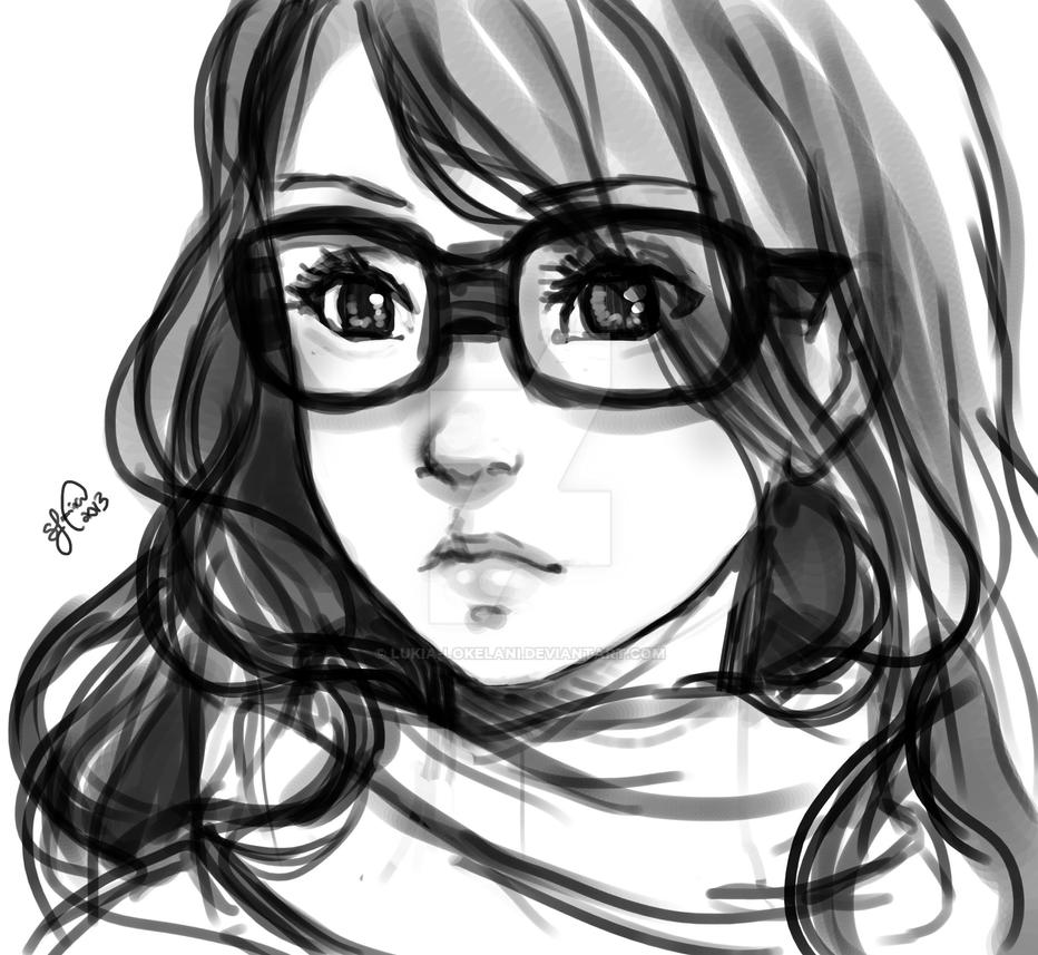Girl with glasses sketch by lukia lokelani
