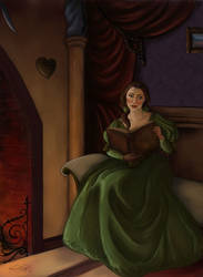 The reading beauty by TottieWoodstock