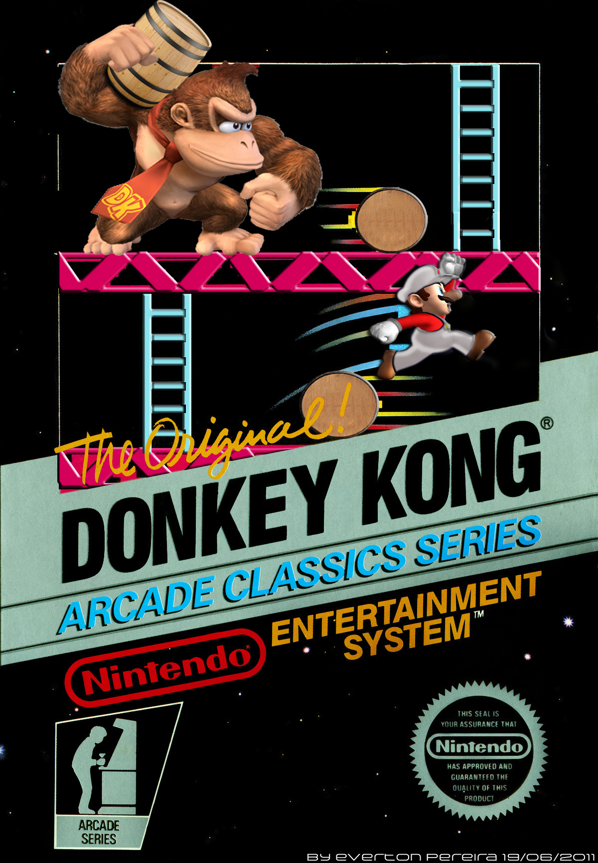 donkey kong nes cover by tonatello on deviantart. Black Bedroom Furniture Sets. Home Design Ideas