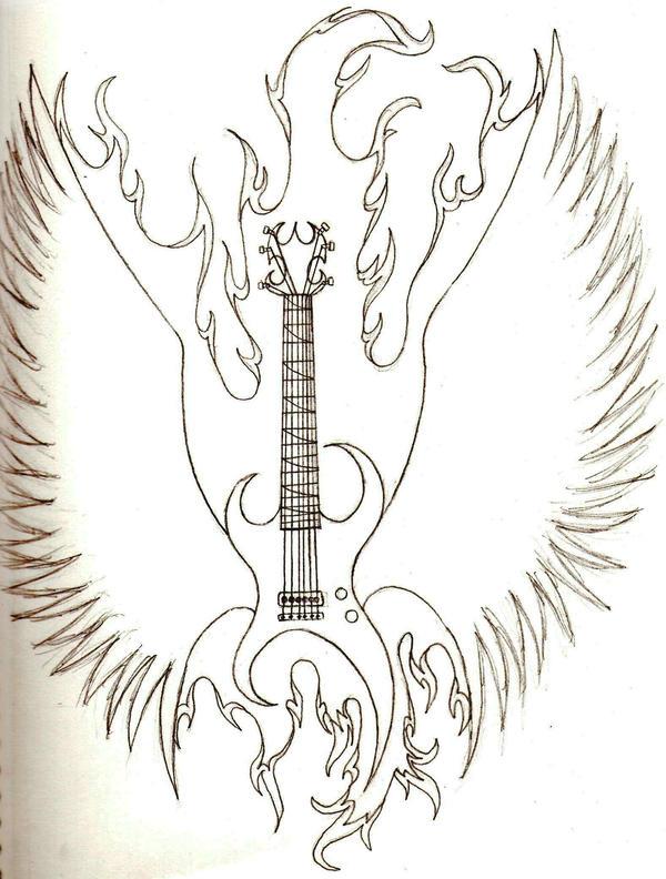 flaming guitar tatto design by emo cookie 3 19 07 on deviantart. Black Bedroom Furniture Sets. Home Design Ideas