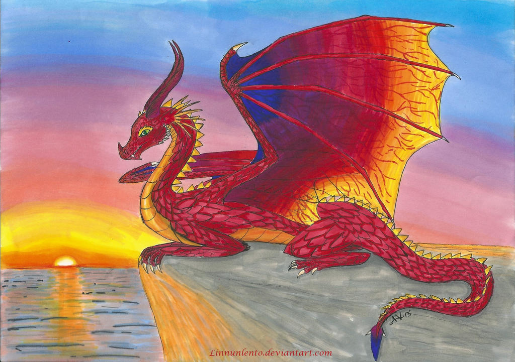 A Dragon Sunset by Dannyboy974 on DeviantArt |Dragons And Sunsets