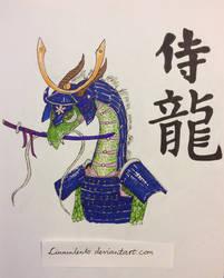 Indigo samurai dragon by Linnunlento