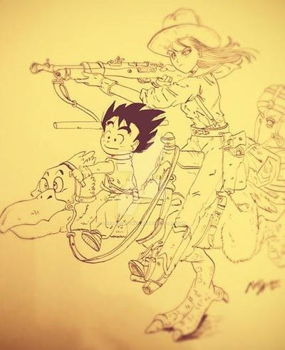 lineart Goku e Bulma by Dream-Catcher-88