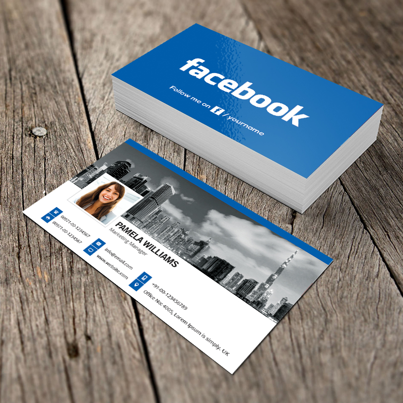 Facebook blue business card template and mockup by graphicmore on facebook blue business card template and mockup by graphicmore wajeb Image collections