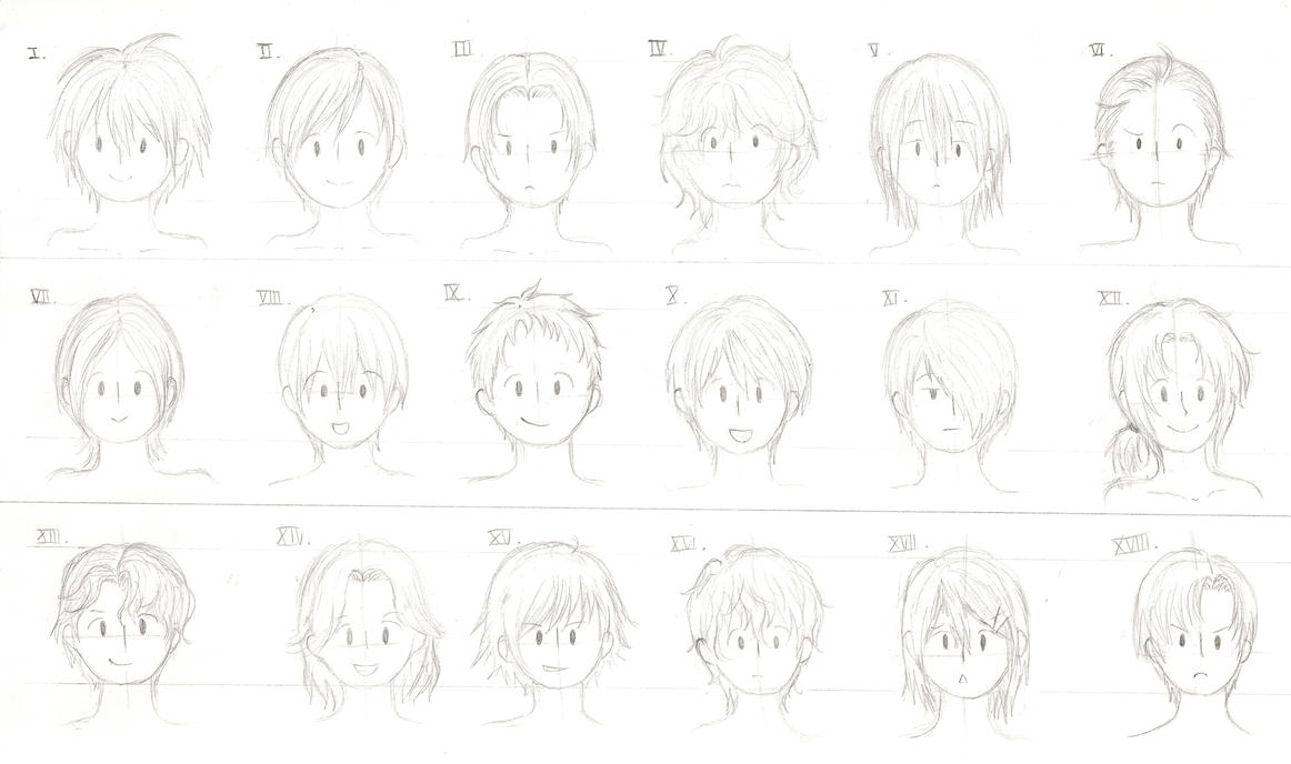 Anime Hair Drawing Ponytail Hairstyles For Boys By